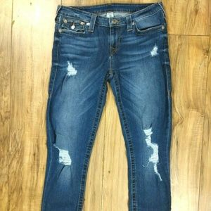 True Religion Skinny Jeans Womens Sz 31 Distressed